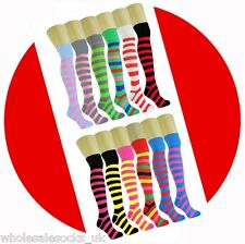 LONG KNEE HIGH OVER THE KNEE SOCKS COTTON RICH 24 FASHION STRIPE COLOURS UK 4-8