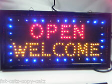 SUPER BRIGHT FLASHING LED NEON SHOP WINDOW DISPLAY OPEN WELCOME SIGN UK SELLER