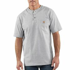 Carhartt Short Sleeve Cotton Pocket Henley Heather Gray K84 HGY