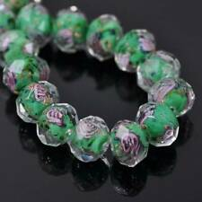 10pcs Faceted Lampwork Glass Charms Rose Flower Finding Loose Bead 12x8mm New