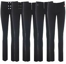 Girls  Miss Sassy skinny black stretch hipster sexy school trousers size 6 -14