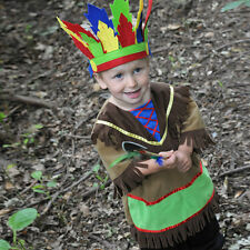 Boys Children's Kids Indian Chief Fancy Dress Up Costume with Headdress