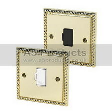 13 Amp Unswitched Fused Spur in Polished Mirror Brass GEORGIAN Style Plate