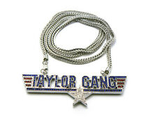 """NEW ICED OUT TAYLOR GANG PENDANT WITH 36""""  WIZ KHALIFA FRANCO CHAIN NECKLACE"""