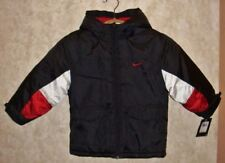 NEW Boys Sz 4 NIKE Black Red White Zip Puffy Hooded Winter Coat Jacket Outerwear