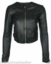 CROPPED Collarless 3/4 short Real NAPA Leather biker QUILTED Jacket BLACK