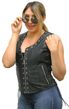 LADIES LEATHER ZIPPER VEST WITH EYELETS AND LACES