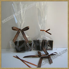 """4""""X6"""" clear cello bag for chocolate mold candy + Pre tied ribbon bows"""