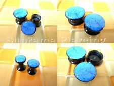 Multiple Size Blue Turquoise Print Screw Flesh Tunnels Ear Plugs #16