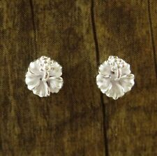 Hawaiian 925 Sterling Silver White Hibiscus Flowers Post Stud Zirconia Earrings