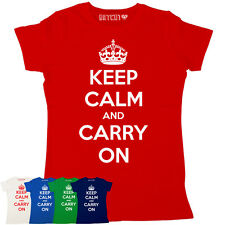 KEEP CALM AND CARRY ON ULTIMATE CLASSIC WOMENS PRINTED T-SHIRT ALL COLOURS SIZES