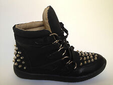 BASKETS BOTTINES CLOUTEES CLOUS FEMME NEUF LACETS MONTANTE SNEAKERS SPIKES