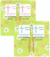 20 PERSONALISED CHRISTENING BAPTISM CROSS BABY CUP CAKE PICK FOOD FLAG TOPPER