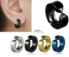 Men's Clip On Hoop Stud Earrings,Stainless Steel Silver,Gold,Black,Blue,14MM