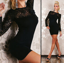 Sexy Long Sleeve Lace Mini Dress in soft knit Evening Mini Dress with Bow