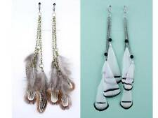 1 Pair SPRING CLIP-ON Multiple-Colored FEATHER DANGLE EARRINGS