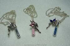 Fairy dust vial and fairy crystal pendant silver plated necklace wishes gift