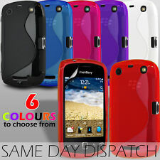 S LINE WAVE GEL SKIN CASE COVER & SCREEN PROTECTOR FITS BLACKBERRY CURVE 9380