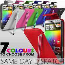 LEATHER FLIP CASE COVER,SCREEN PROTECTOR & STYLUS PEN FOR HTC SENSATION XL