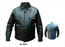 Mens Western Style Black Lamb Skin Leather Shirt / Light Jacket