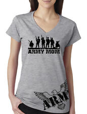 Womens Army Mom Soldiers with Eagle Junior Fit V-Neck T Shirt Ladies Military