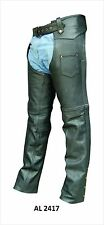 Mens or Unisex Lined Black Top Grain Buffalo Leather Motorcycle Chaps