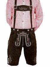 Genuine Suede Bavarian Short Length Lederhosen  Dark Brown 32,34,36,38,40 (kurt)