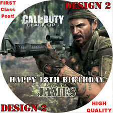 Call Of Duty Black Ops FREE BULLET CANDLE! Cake Topper Rice Paper/Icing 24HR DEL