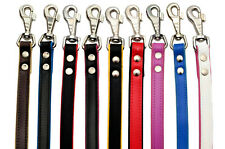 Real SOFT LEATHER COLOUR PADDED PUPPY DOG LEADS Handmade