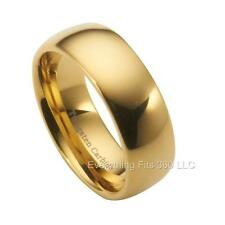 Tungsten Carbide Gold Plated Wedding Band Ring Comfort Fit 8mm Size 5-15