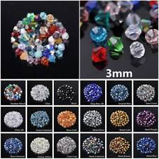 500pcs 3mm Faceted Charm Glass Crystal Finding Charm Bicone Loose Spacer Beads