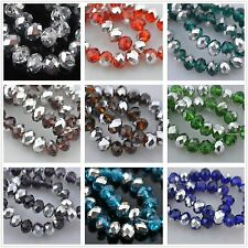 100pcs Half Silver Plated Faceted Glass Crystal Loose Finding Spacer Beads 6x4mm