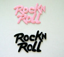 MUSIC / DANCE ROCK ' N ROLL PINK or BLACK EMBROIDERED IRON ON APPLIQUE / PATCH
