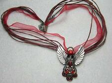 Crystal angel pendant on organza voile cord necklace pretty gift colour choice