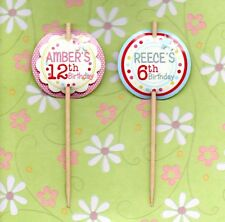 12 LUXURY PERSONALISED BIRTHDAY AGE CUP CAKE FLAG 18th 21st 31th 40th 50th 60th