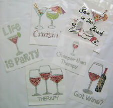 WINE / COCKTAIL ~ LIFE IS PARTY  THERAPY RHINESTONE IRON ON HEAT TRANSFER