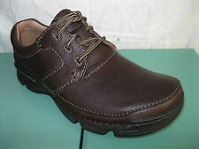 CLARKS MENS BROWN LEATHER LACE UP SHOES 'G' WIDTH FIT- RICO MOVE