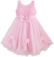 Flower Girl Dress Pink Rose Pageant Tull Wedding Kids Boutique Size 2-10 Formal