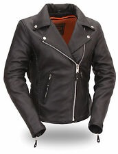 Womens Black Hourglass Leather Motorcycle Jacket w Braided Seams