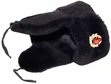 Navy officer of Russia mouton (sheepskin) ushanka hat. Wool top. Current issue.