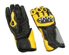 Leather Sport Riding Gloves Black / Yellow w Armored Knuckles - Mens