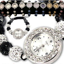 NEW LADIES SPARKLING SHAMBALLA BRACELET WATCH CRYSTAL BALL BRACELETS SET WOMENS