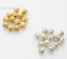 Oblate rose ANTIQUE Tibet Silver alloy jewelry Spacer Beads 7*6mm USA BY EUB