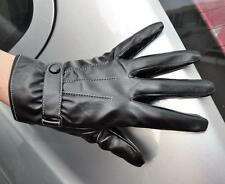 Men's Black Fashion PU Leather Winter Wrist Gloves Driving Gloves 3 Lines