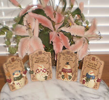 ~ONE (1) PRIMITIVE SNOWMAN STAND-UP CHRISTMAS DECOR BY BLOSSOM BUCKET-IMMED SHIP