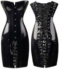 New Sexy Dominatrix Fetish PVC x2 Piece Corset Style Dress S-M-L-XL sizes