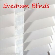 MADE TO MEASURE 35MM PURE WHITE WOODEN VENETIAN BLIND WITH TAPES REAL WOOD