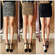 New Sexy Women Bandage Glitter Sequin BodyCon Panel Party Mini Skirt 3 Color