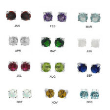 De Buman Sterling Silver Birthstone 5mm Round Genuine Gemstone Stud Earrings