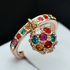 18K Rose Gold Plated Ring stud with Colourful Square Swarovski Crystals R399